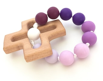 Baby Girl Baptism Gift; Decade Rosary Teething Ring in Purple Ombre; Catholic Baby Toy