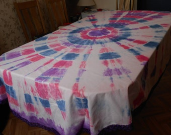 Bespoke, Large tie-dye oval table cloth