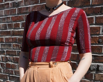 Vintage Stretchy Red Sparkly Striped Top / Size Small Medium