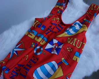 Vintage Nautical Baby Swimsuit in Red
