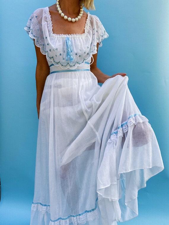 Vintage 1970s Gunne Sax Jessica White Maxi Dress