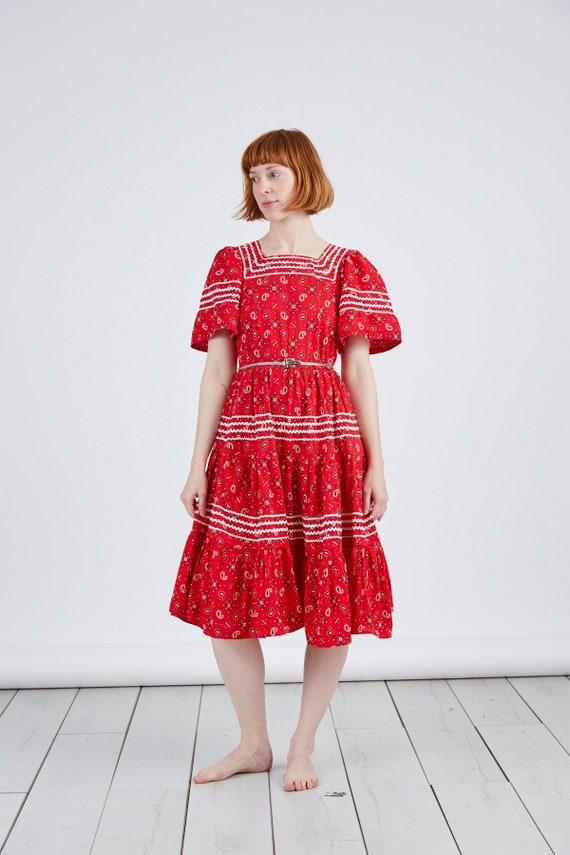 1950s Vintage  Red Bandana Print Dress Trego's Wes