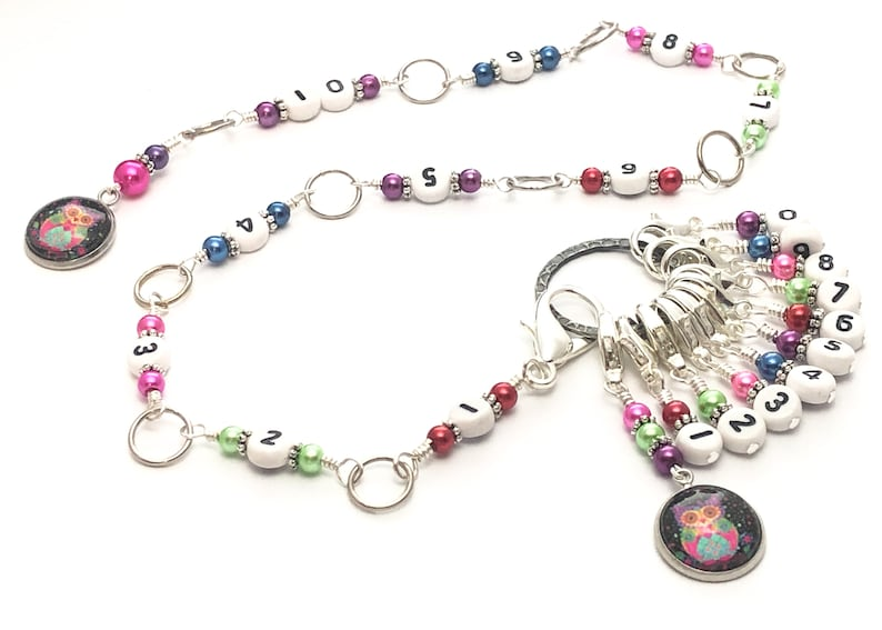 Progress Keeper Rainbow Owl Chain Counter for Knitting Row Counter Gift for Knitters Counts 0 to 100