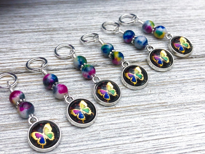 Mother/'s Day Gift for Knitter Butterfly Stitch Markers For Knitting Knitting Gift Snag Free Ring Sizes for Needles US3 to US15
