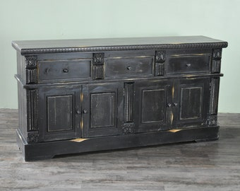 distressed buffet etsy rh etsy com  distressed black buffet server