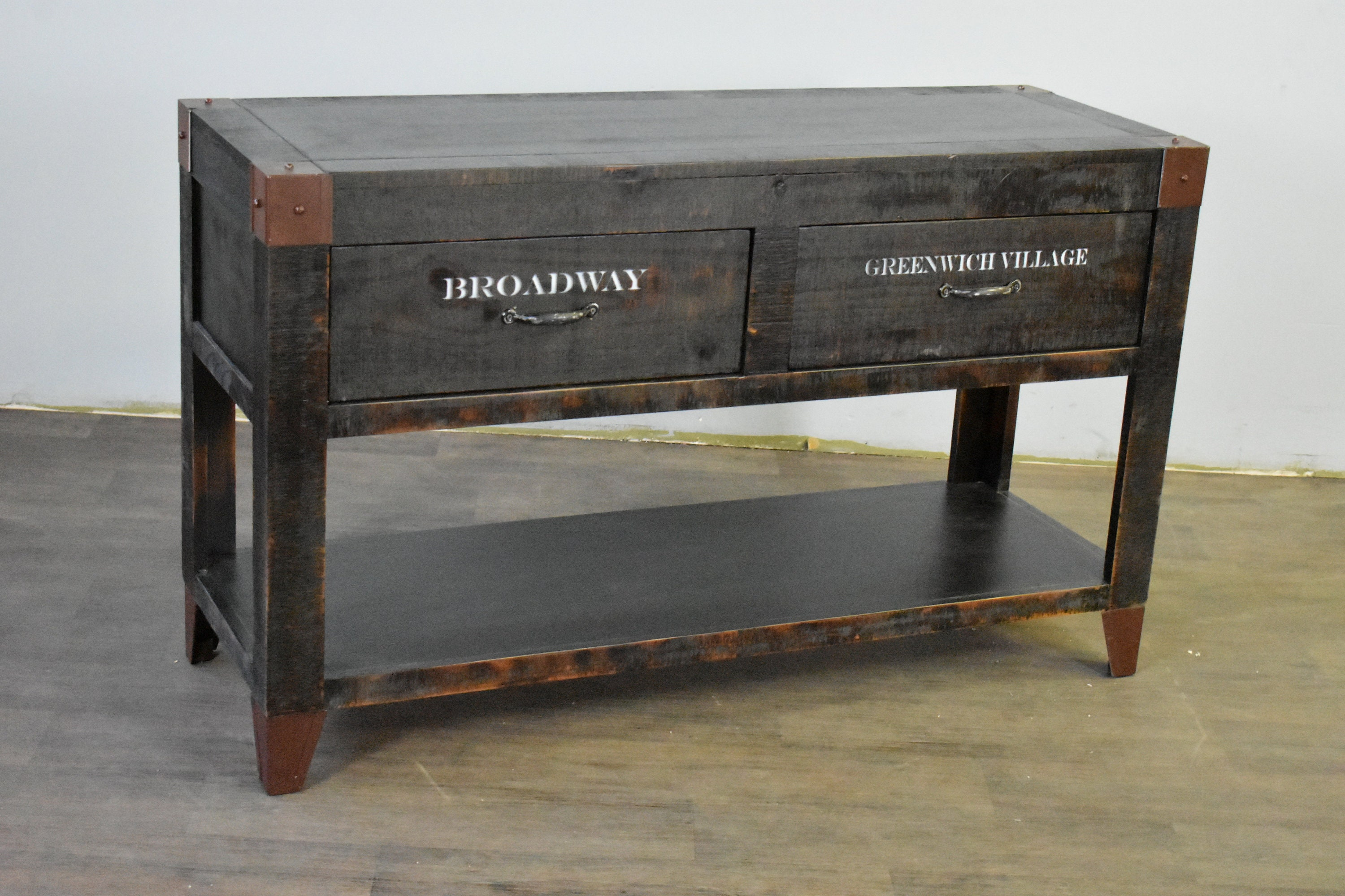 Graffiti Solid Wood Rustic Distressed Sofa Table Console Sideboard New York