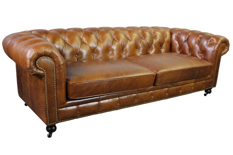 Top Grain Vintage Leather Chesterfield Sofa   Light Brown