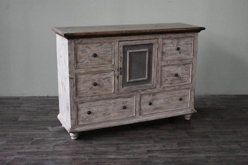 Rustic Solid Wood 2 Door 3 Drawer Dresser, Chest Of Drawers