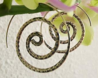 Silver spiral earrings