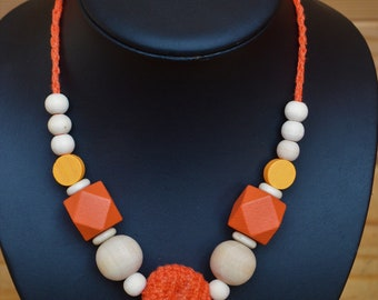 Breastfeeding and Babywearing crochet Necklace: Tangerine