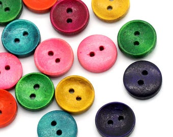 SET of 7 colorful round buttons
