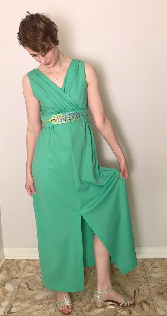 Aqua or Mint floor-length column dress //1970s - image 6