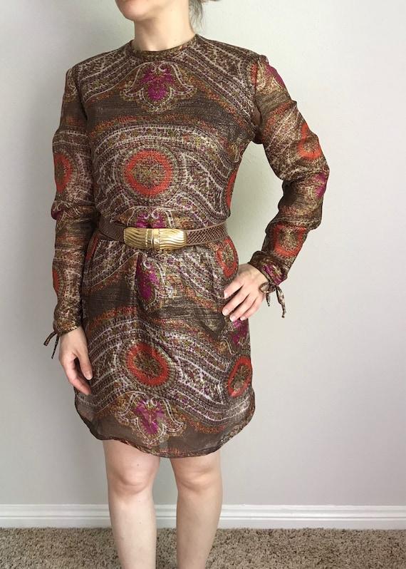 Metallic paisley print mini dress// 60s 70s - image 1