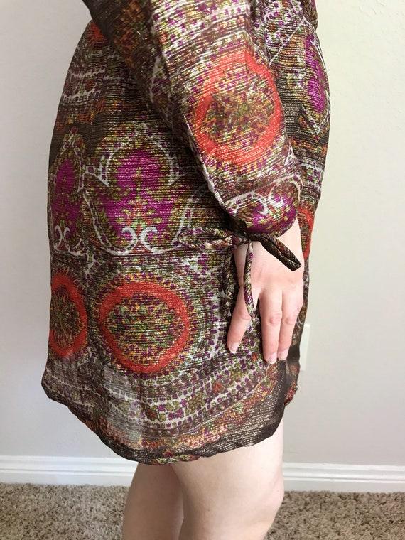 Metallic paisley print mini dress// 60s 70s - image 7
