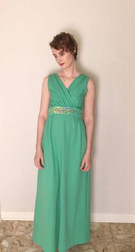 Aqua or Mint floor-length column dress //1970s - image 3