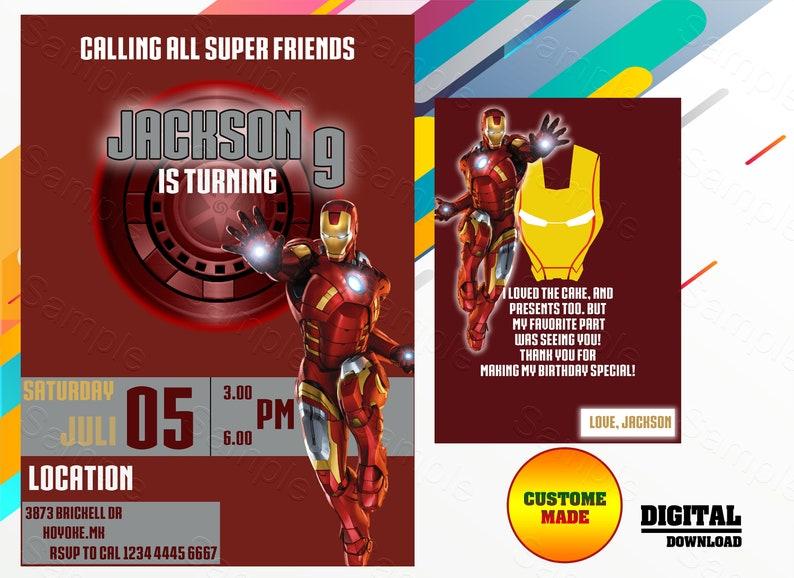 Iron Man Invitation Birthday Party Marvel Ironman