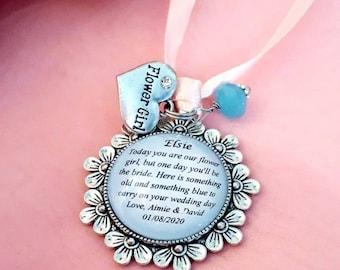 TINY Personalised Charm Bracelet Bridesmaid Bride Flower Girl Wedding Gift Bag
