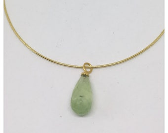 Prehnite pendant with gold hat