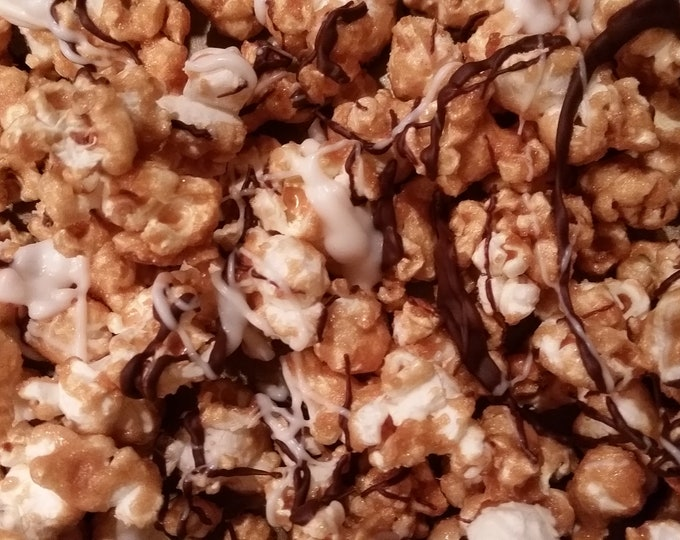 Featured listing image: Handmade Caramel Popcorn with Chocolate Drizzle