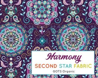 3c8c2ecda44 Harmony, Boho Mandala Purple GOTS, Organic knit, Cotton Lycra, Jersey, Stretch  Fabric