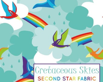 0156761fd5a Cretaceous Skies, pterodactyl sky, rainbow dinosaur, prehistoric clouds,  Organic Cotton Lycra, Knit, Jersey Fabric