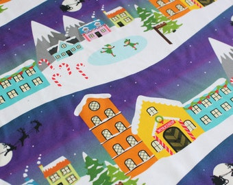 CLEARANCE - Slight Seconds Christmas Town French Terry, GOTS, Organic knit, Festive Stretch jumper sweatshirt Fabric