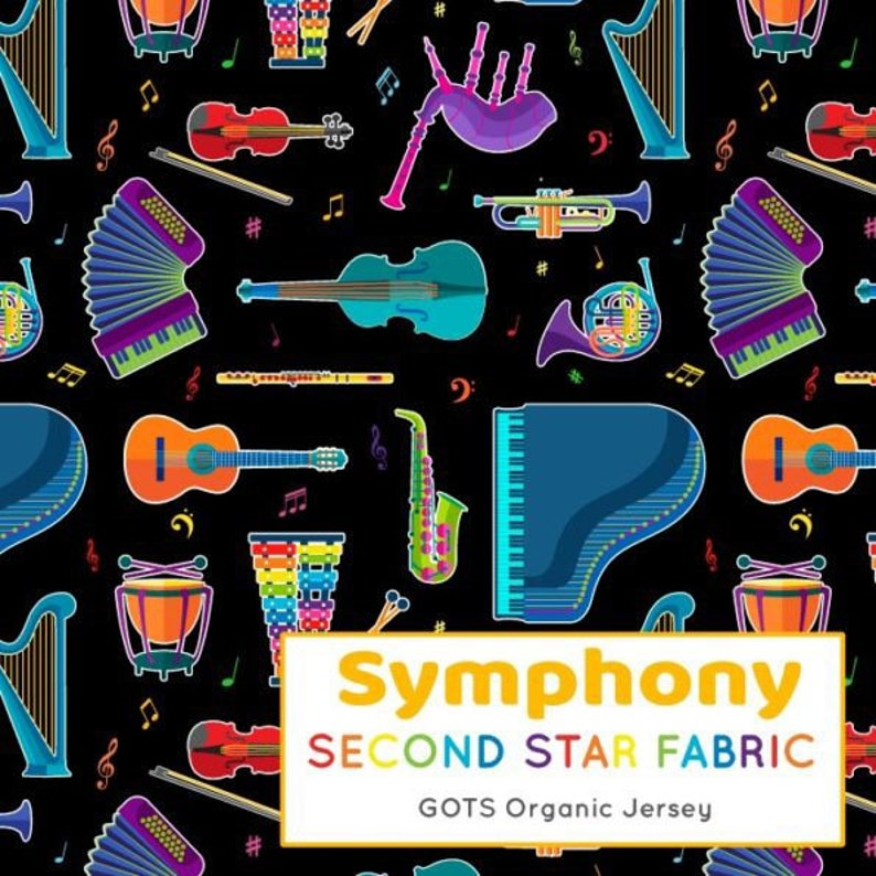 Symphony violin Colourful Gender Neutral GOTS Organic knit Jersey guitar Rainbow instruments Cotton Lycra bagpipes Stretch Fabric