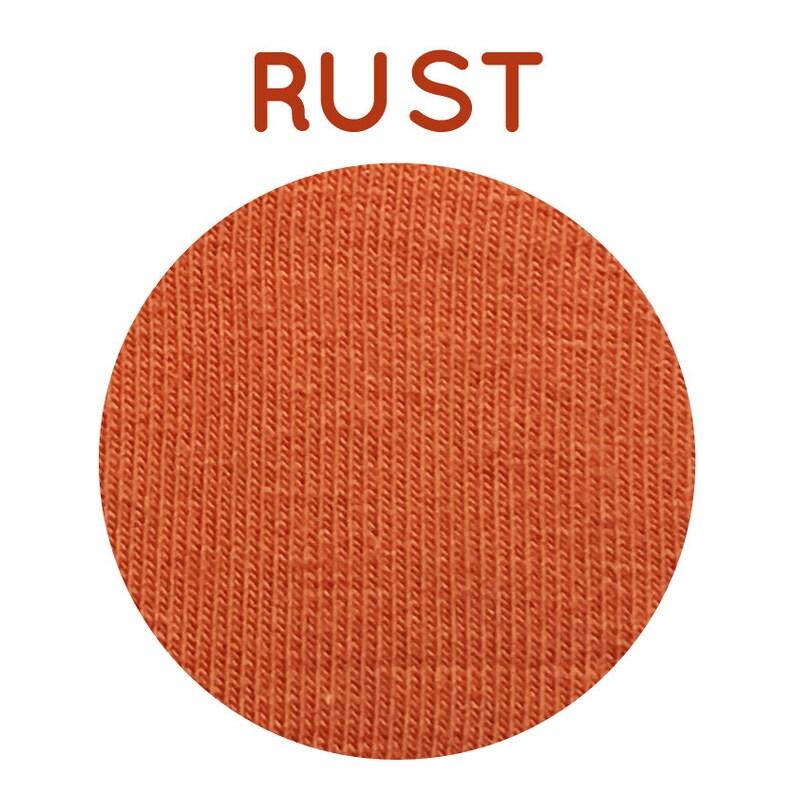 Rust Jersey Solid Colour Cotton Lycra Organic Jersey GOTS Knit Fabric Plain