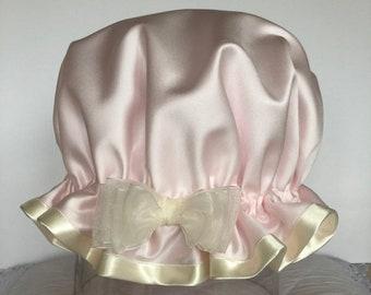 86d959620161 Bonnets de douche de luxe rose Satin bonnet de douche - chapeau de douche  fard à joues rose douche casquette - bonnet de douche imperméable à l eau -  - bain ...