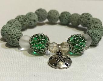 Essential oil diffuser bracelet, lava bead bracelet, aromatherapy lava bead bracelet, beaded bracelet, charm bracelet, nautical, sand dollar