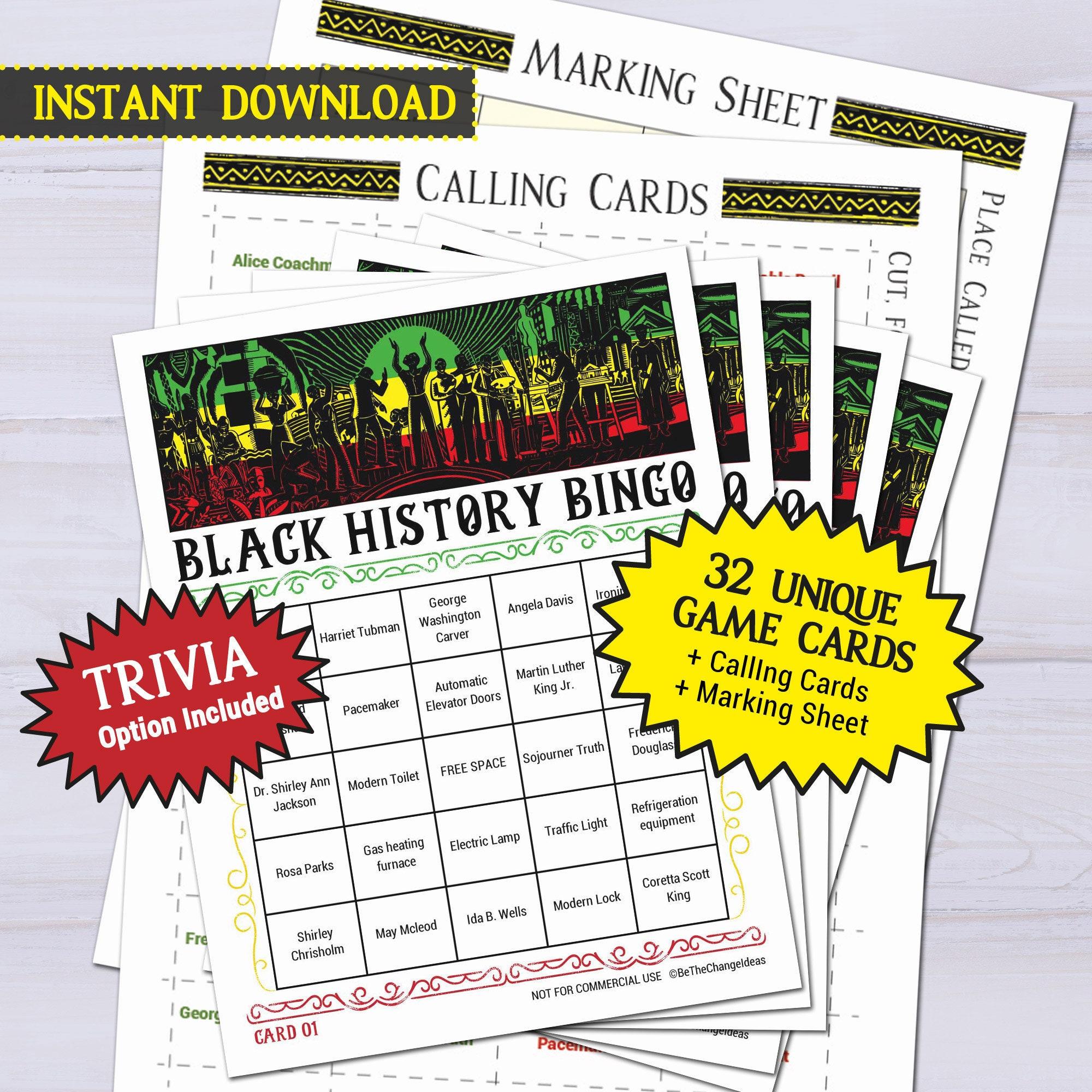 Black History Celebration Bingo Game Juneteenth Month Etsy