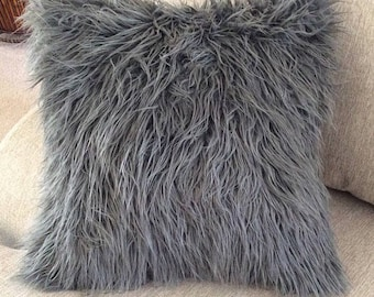 Mongolian Faux Fur Accent Pillow, Charcoal *insert included*
