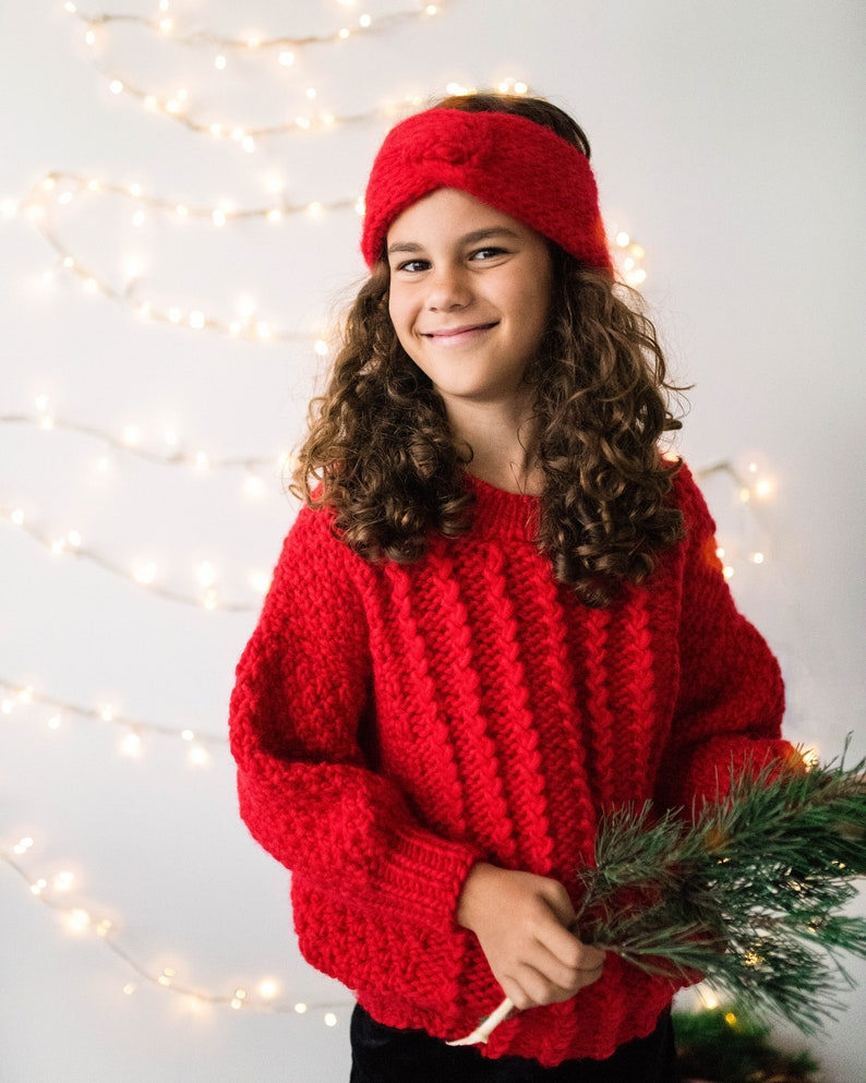 Perfect family holiday sweater. Red Aran Jumper for girls Kids Knit Sweater pullover