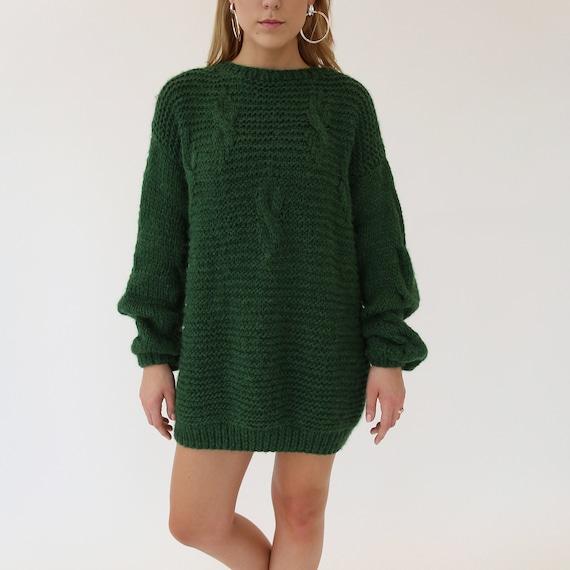 Wool suit.Loose knit sweater.Chunky sweater women.