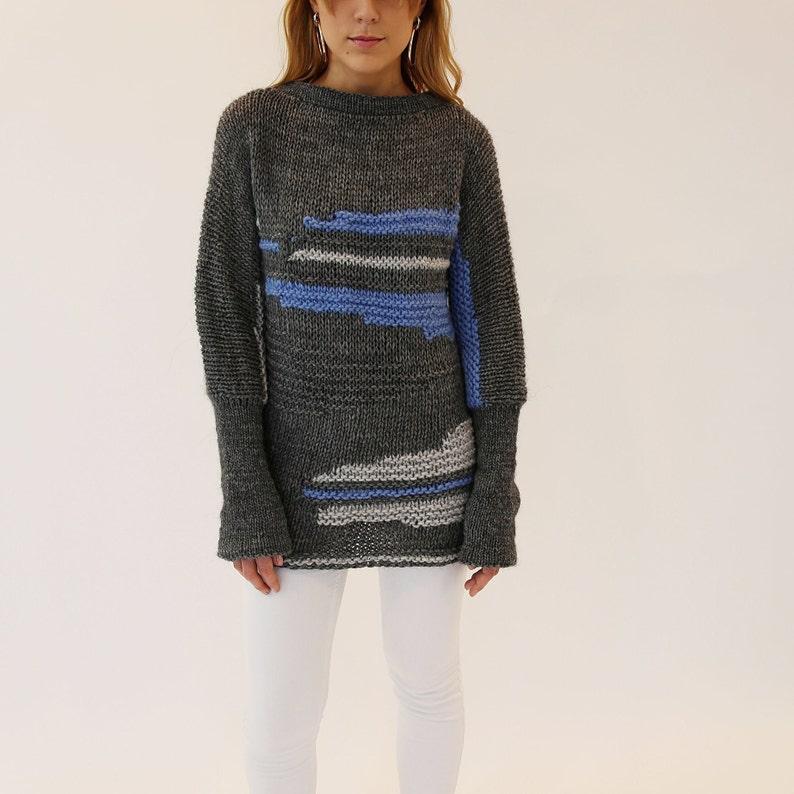 Chunky maglia maglione vestito. Pullover in lana grigio.  c0f8189f351