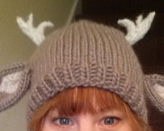 Fantasy Forest FAIRY fawn DEER beanie Hat with ANTLERS 100% wool