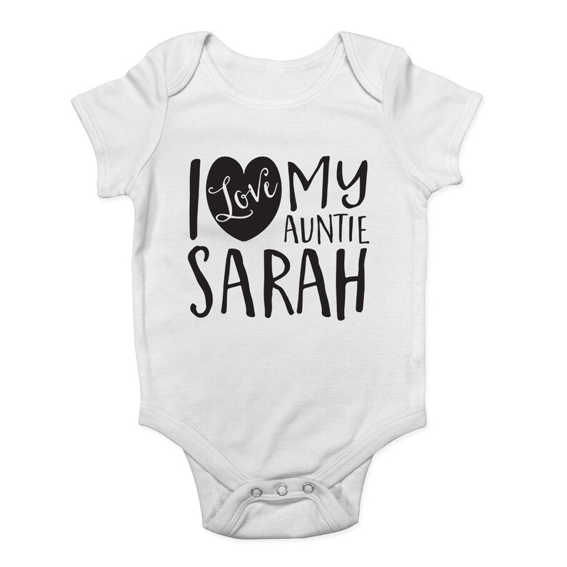 My Auntie Loves Me Personalised Baby Vest Baby Grow 100/% Cotton Boys Girls Bodys