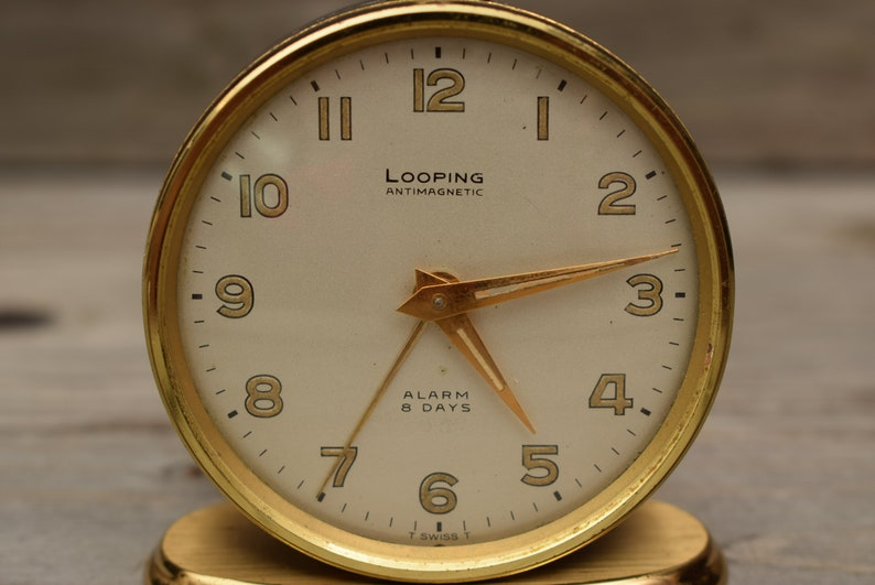 Vintage Looping Antimagnetic Swiss Desk Clock / Mid Century / 8 Days / Mechanical Clock / Brass / 15 Jewels / Wind-up Clock / Working!