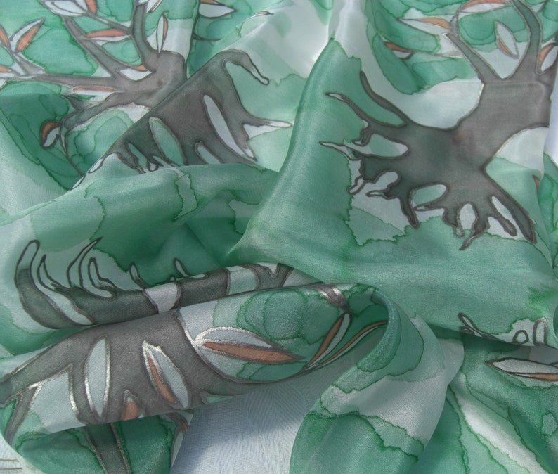 Unique Gift Tree of Life in Ash Green or Silver Grey Original Design Hand Painted Silk Neckerchief Scarf By British Artist Kaz Mills