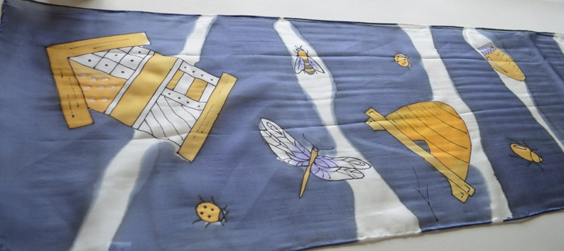 Original Design Hand Painted  Extra Long Silk Fabric Scarf  By British Artist Kaz Mills Beautiful Bugs with Navy Blue Background
