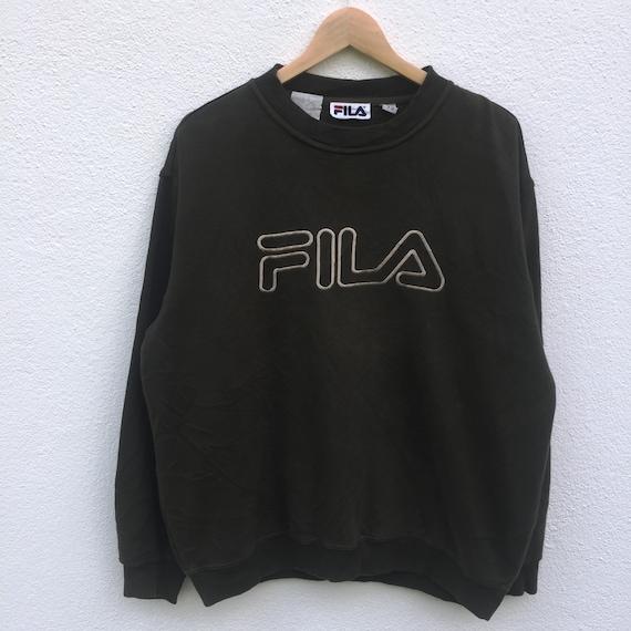 FILA vintage fila font embroidery spellout jumper pullover sweatshirt nice design