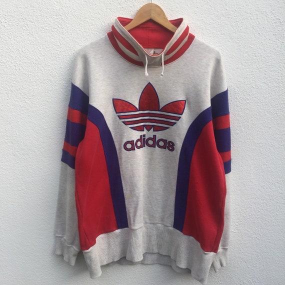 ADIDAS drei Streifen Vintage 90er Jahre Adidas drei Streifen große Stickerei Logo Sweatshirt pullover