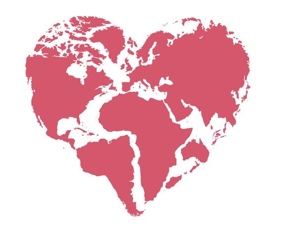Heart World Map svg silhouette cricut cutting files heart | Etsy