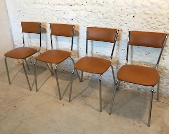 SOLD 1960/70s Retro Brown Steel Chairs by Keron