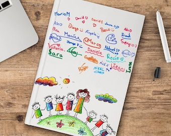 Notebook for teachers with children's signatures