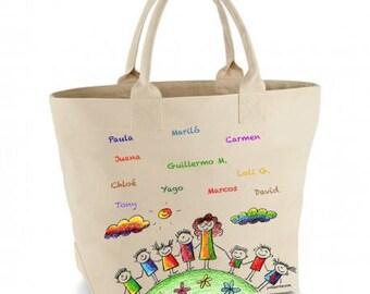 Teacher's handbag with children's signatures