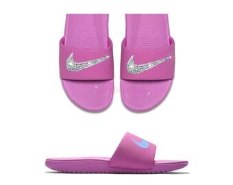 31f8a6a5c Nike Kawa Slide Women s - Pink Swarovski Custom Slides - Bling Sandals -  Bedazzled Crystal Nike - Customized by SparkleMeBaby2u