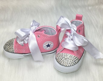 3a06ecfa7fee Custom Baby Converse with Bling and Satin Laces ~ Soft Sole Infant Shoes  Bedazzled ~ Swarovski Crystals Available ~ SparkleMeBaby2U
