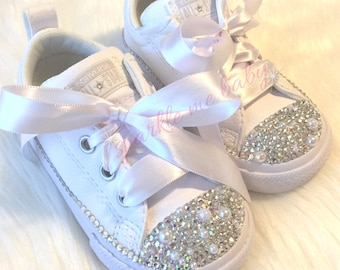 966b3d921f9 Wedding Converse With Bling and Pearls ~ Sizes 2c thru 6y ~ Perfect for  your Flower Girl ~ Gorgeous Customized Converse