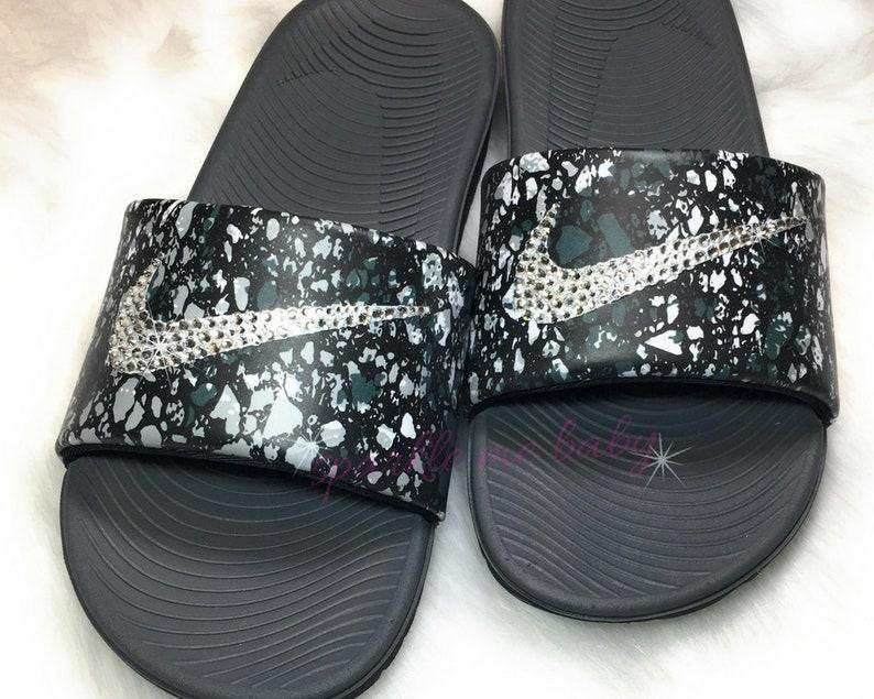 Sparklemebaby2u Slide Sandals Nike Swarovski Bedazzled Custom Slides Bling Kids Nikes c3qSL54jAR